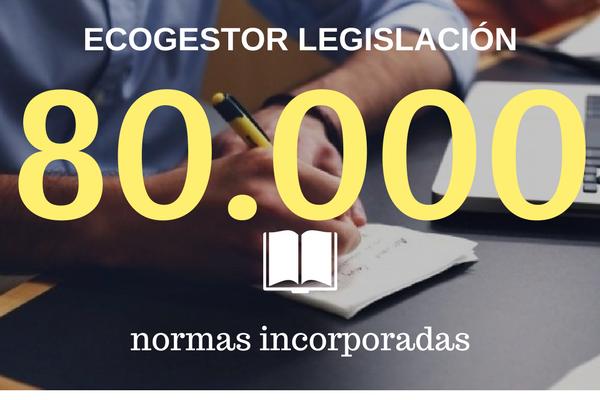 Ecogestor Legislación supera las 80.000 normas incorporadas en su base de datos