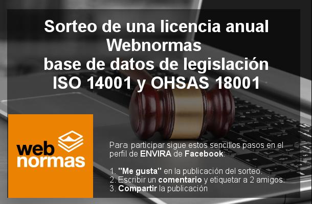 Sorteo de una licencia anual Webnormas: base de datos de legislación ISO 14001 y OHSAS 18001